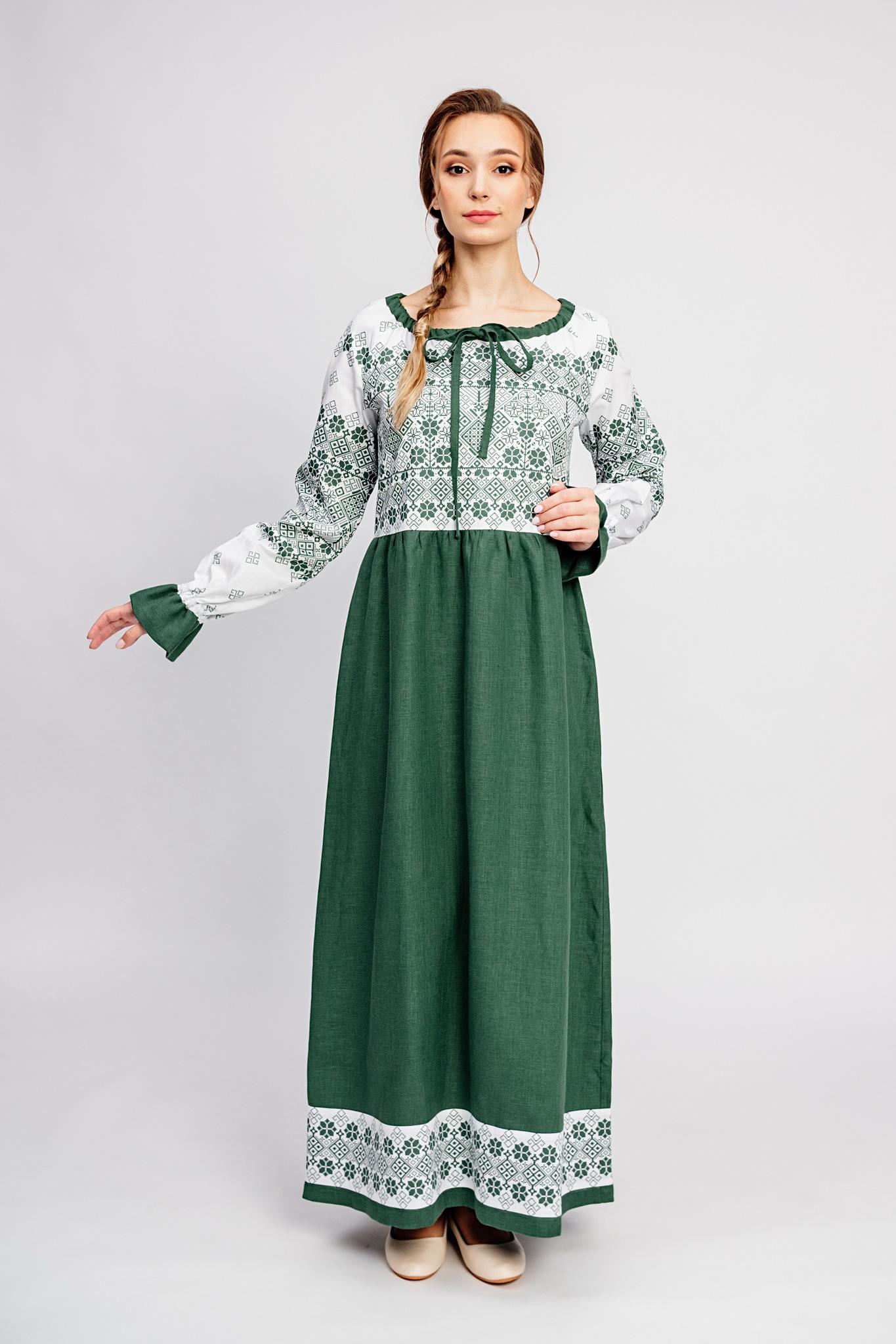 Льняное платье в русском стиле