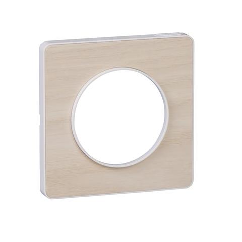Рамка на 1 пост. Цвет Бук, белая вставка. Schneider Electric(Шнайдер электрик). Odace(Одес). S52P802R