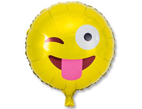 Фольгированный шар Смайл подмигивающий