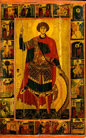 Икона святого Георгия Победоносца со сценами жития на дереве на левкасе мастерская Иконный Дом