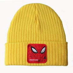 Вязаная шапка с отворотом и вышивкой Spider-Man (Человек-паук), желтая