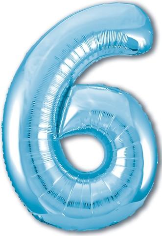 Р Цифра, 6, Slim, Голубой, 40''/102 см