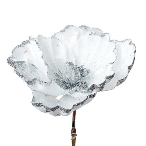 Магнолия с глиттером на прищепке, D20 см, цвет: белый
