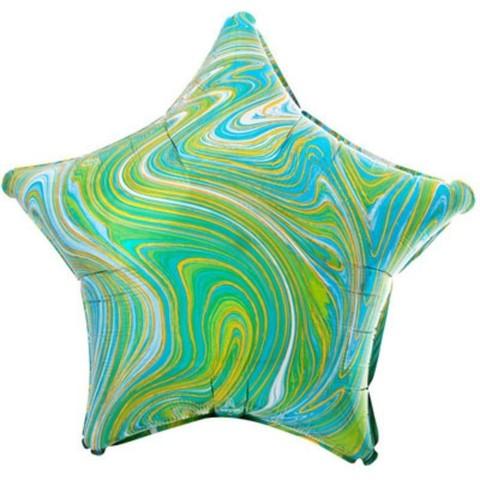 Воздушный шар Звезда Салатовый-Голубой  мрамор, 45 см