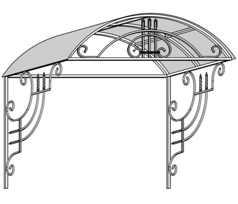 макет металлического козырька №12