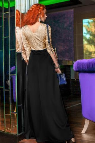 Платье в пол с лифом из жаккарда 1