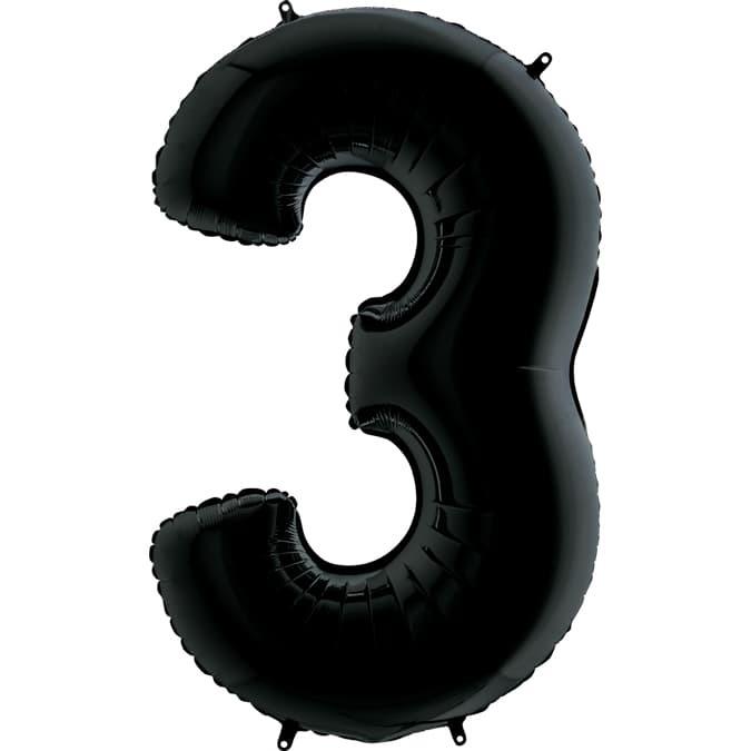 Фольгированная цифра 3, черный