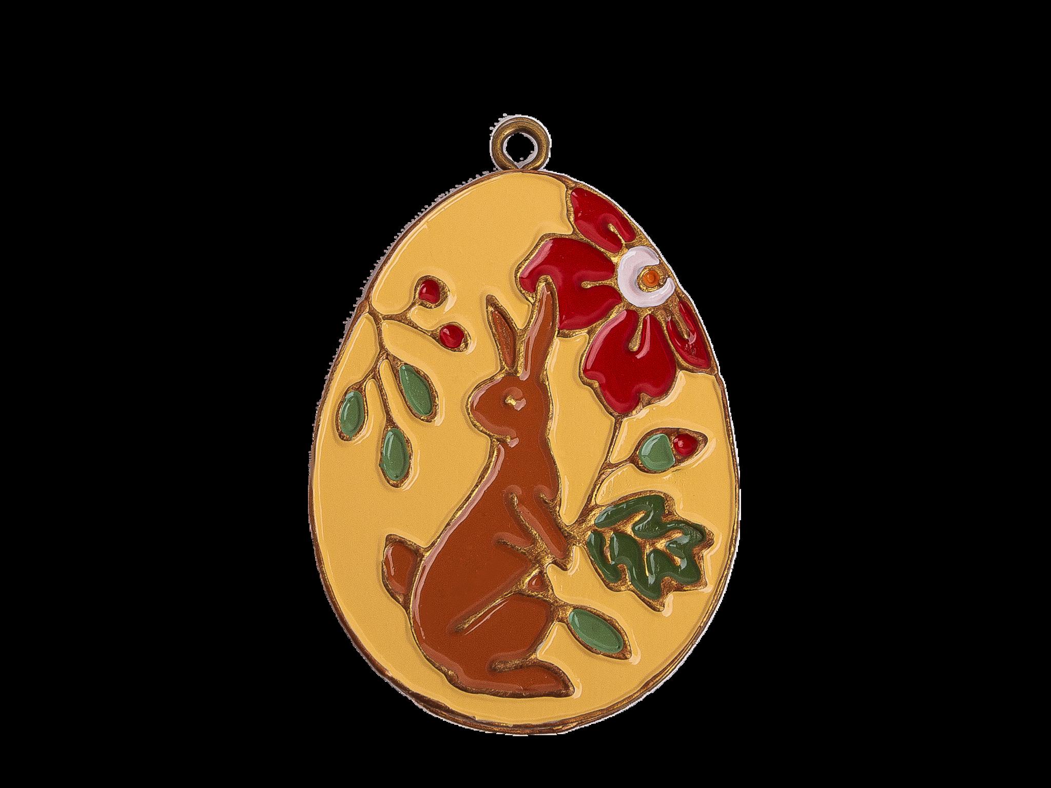 Пасхальное украшение Яйцо с Кроликом, цвет: светло-желтый