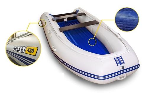 Надувная ПВХ-лодка Солар - 420 Strela Jet Tunnel (светло-серый)