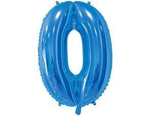 Цифра 0 синяя с гелием 65 см