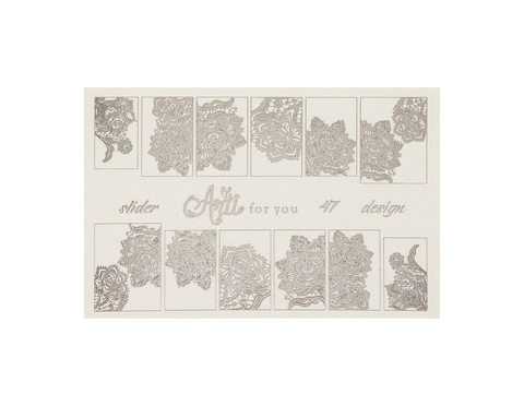 Фольга для дизайна ногтей цвет серебро 47 купить за 120руб