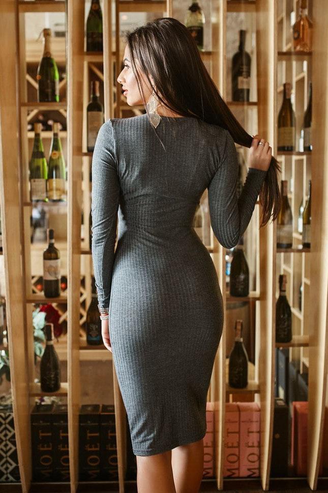 Платье миди трикотажное, серое