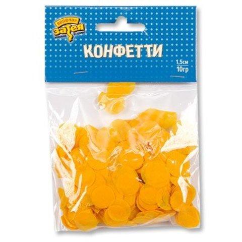 Конфетти Круги тишью Желтые 1,5см 10гр/G