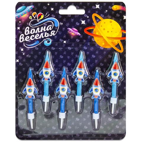 Свеча Фигура, Космические ракеты, Синий, 6 см, 6 шт.