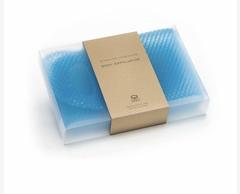 Мочалка-скрабер Supracor, Медовые соты с ручками голубая