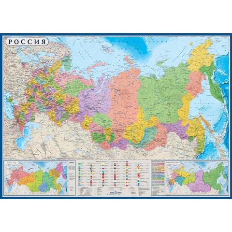 Настенная карта Россия политико-административная 1:6 млн