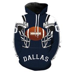 Толстовка утепленная 3D принт, НФЛ Даллас Ковбойз (3Д Теплые Худи  NFL Dallas Cowboys) 001