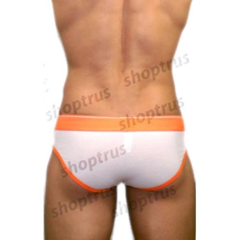 Мужские трусы брифы белые с оранжевой резинкой DIESEL DIS0211