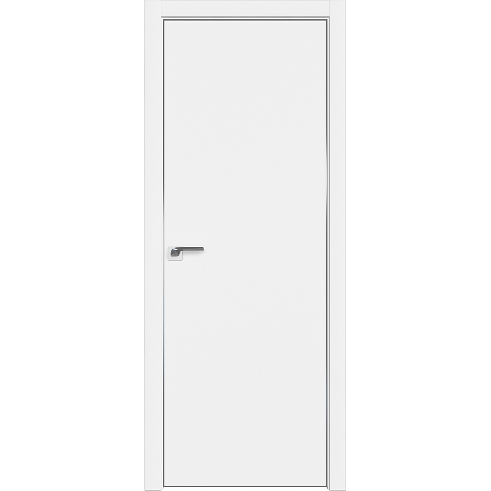 Двери в стиле минимализм Межкомнатная дверь экошпон Profil Doors 1E аляска алюминиевая матовая кромка с 4-х сторон 1E_Alyaska_CHROME_MAT.jpg