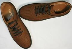 Коричневые кроссовки мужские летние с перфорацией Vitto Men Shoes 1830 Brown White