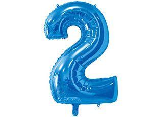 Цифра 2 синяя с гелием 65 см