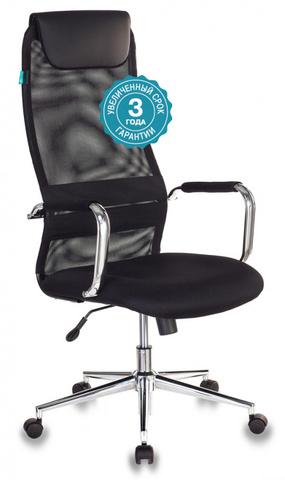 Кресло руководителя Бюрократ KB-9N черный TW-01 TW-11 сетка/ткань с подголов. крестовина металл хром
