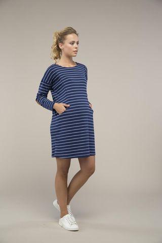 Платье для беременных и кормящих 09101 синяя полоска