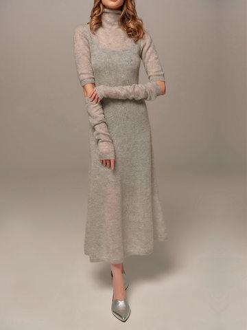 Женское светло-серое платье миди с длинным рукавом - фото 6