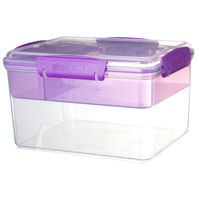 """Ланч-бокс Sistema """"TO GO"""": 4 секции, 2,3 л, цвет Фиолетовый"""