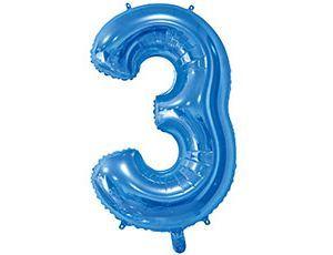 Цифра 3 синяя с гелием 65 см