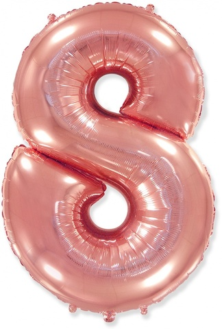 Шар (40''/102 см) Цифра, 8, Розовое Золото, 1 шт.