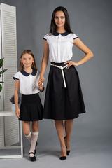Вита. Классическая блуза с круглым воротником. Белый