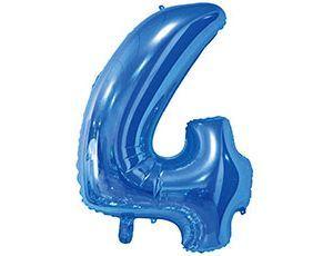 Цифра 4 синяя с гелием 65 см