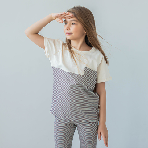 Duo T-shirt for teens - Striped