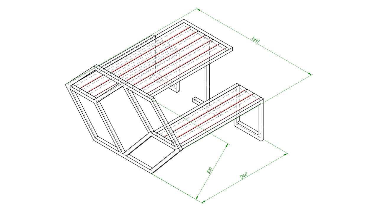 Скамейка со столом SCAM0262
