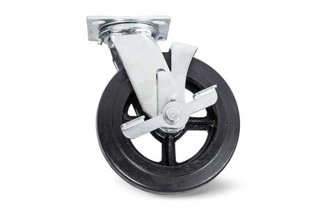 Колесо большегрузн. поворотн. тормоз рез. (SCdb 55) 125мм