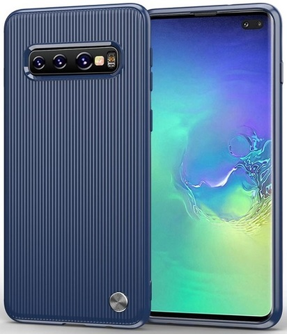 Чехол Samsung Galaxy S10 Plus цвет Blue (синий), серия Bevel, Caseport
