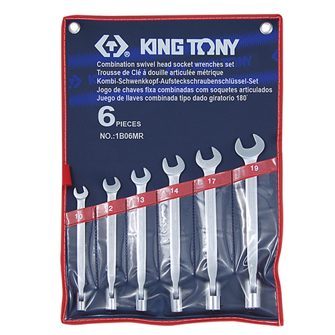KING TONY (1B06MR) Набор комбинированных ключей с шарниром, 10-19 мм, 6 предметов