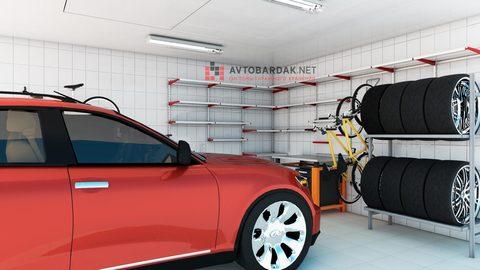 Проект № 14: гараж 35,25 кв м (компактная зона с верстаком, полками, колесами и велосипедами)