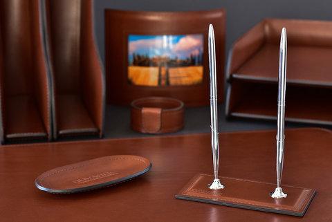 Подставка для двух ручек LUXE из кожи Full Grain Toscana Tan