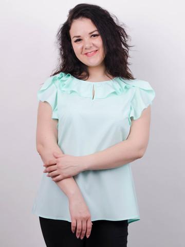 Руна. Нежная блуза большого размера. Мята.