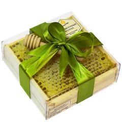 Натуральный мед в сотах HoneyForYou в подарочном оформлении с оливковой лентой, 350 г