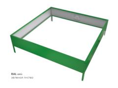 Клумба квадратная оцинкованная 1 ярус RAL 6002 Зеленая листва