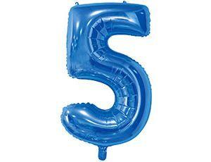 Цифра 5 синяя с гелием 65 см