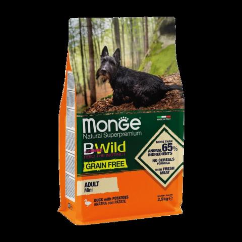 Monge Dog BWild Grain Free Mini Сухой корм для взрослых собак мелких пород из утки с картофелем, беззерновой