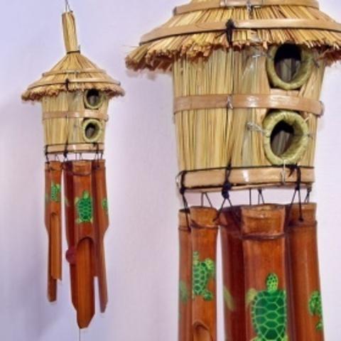 Музыка ветра, бамбук Соломенная хижина с росписью
