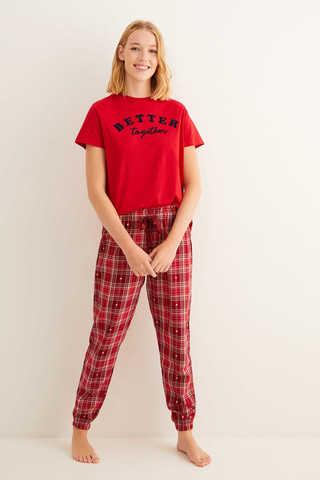 Довгі піжамні штани з сердечками