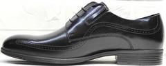 Мужские стильные туфли под костюм Ikoc 3416-1 Black Leather.