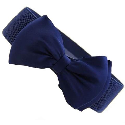 Эластичный пояс с бантом (синий)