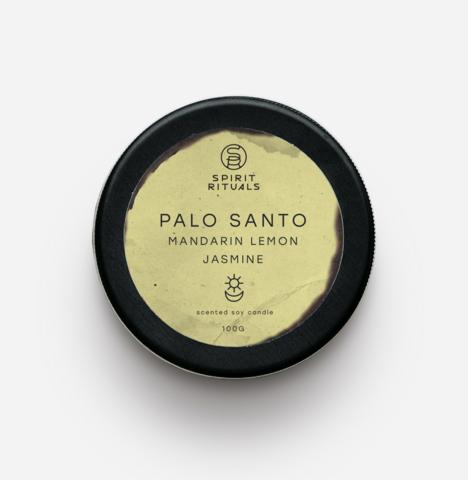 Соевая свеча с эфирными маслами Пало Санто, мандарина, лимона, жасмина с кристаллом цитрина и цветками жасмина 100 гр